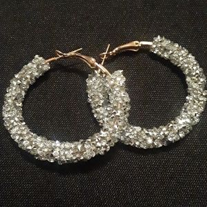Fun Glitter Sparkle Silver Hoop Earrings